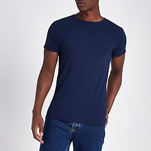 Indigo blue pique muscle fit T-shirt