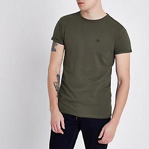 T-shirt ajusté kaki en maille piquée