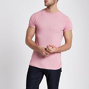 Roze aansluitend piqué T-shirt
