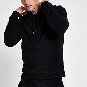 Schwarzer, langärmeliger Jersey-Hoodie