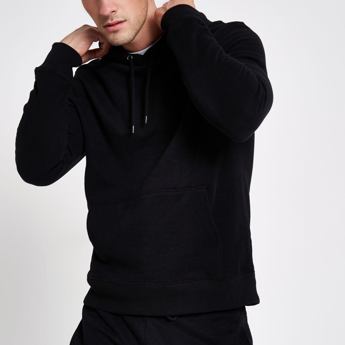 Sweat à capuche en jersey noir à manches longues