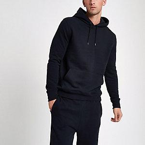 Marineblauwe hoodie met lange mouwen