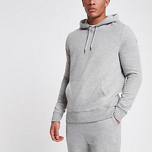 Sweat à capuche en jersey gris clair à manches longues