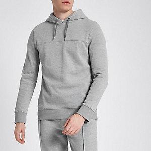 Grey pique hoodie