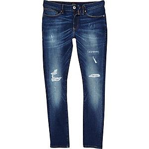 Big and Tall dark blue rip super skinny jeans