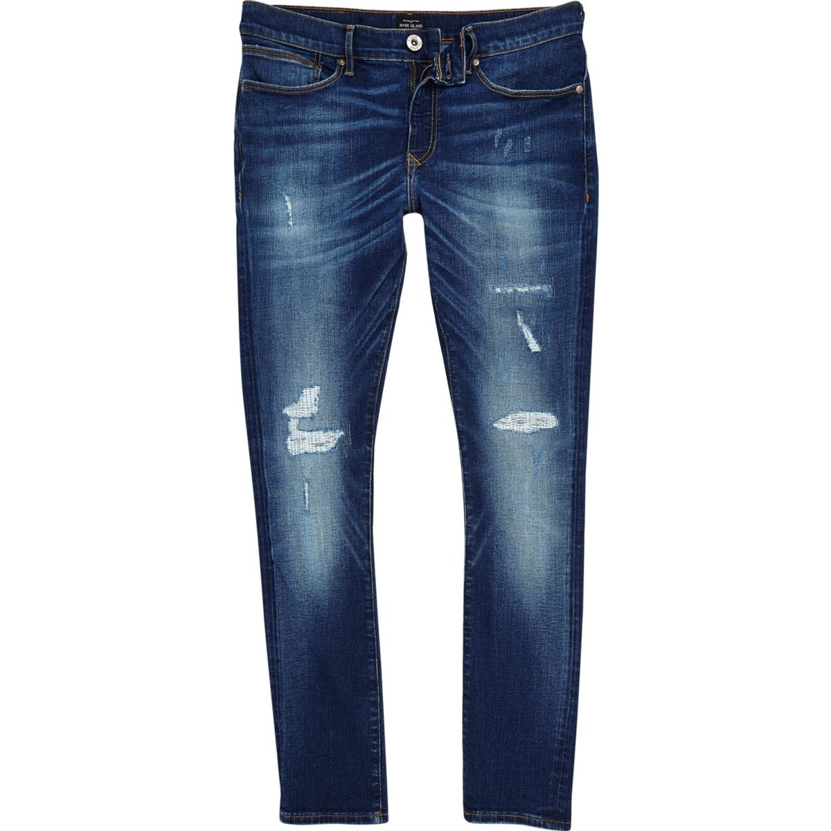 Big and Tall - Jerry - Donkerblauwe ripped skinny jeans
