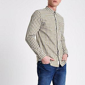 Kiezelkleurig button-down overhemd met gingham-ruit
