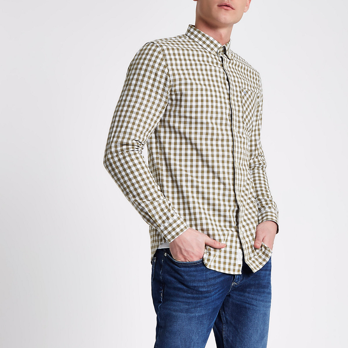 Stone gingham button-down shirt