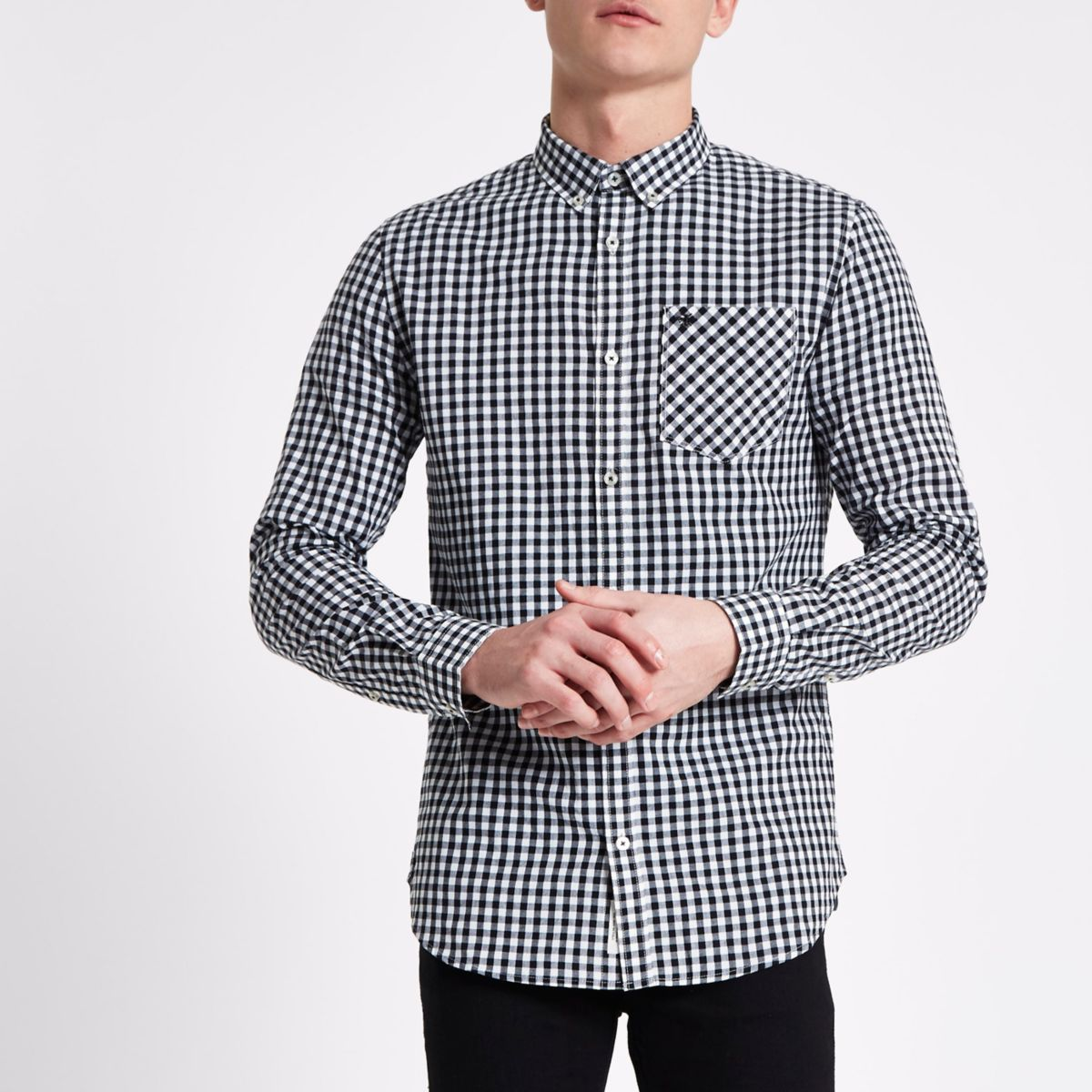 Black gingham button-down shirt