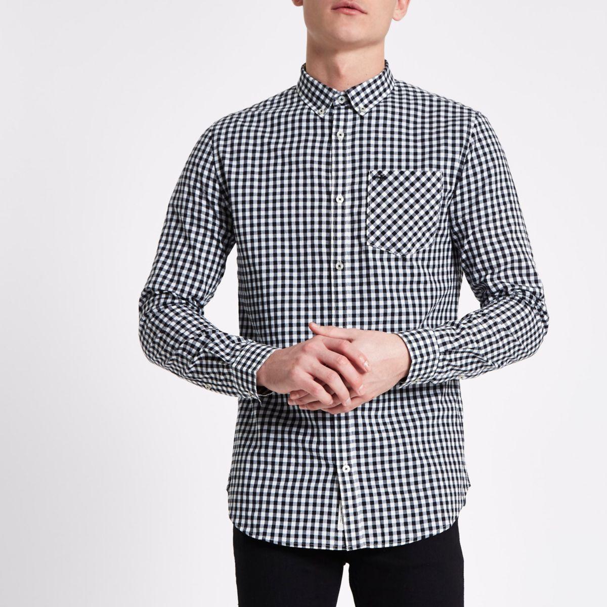 Chemise à carreaux vichy noire boutonnée