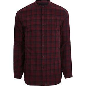 Rood geruit slim-fit overhemd zonder kraag