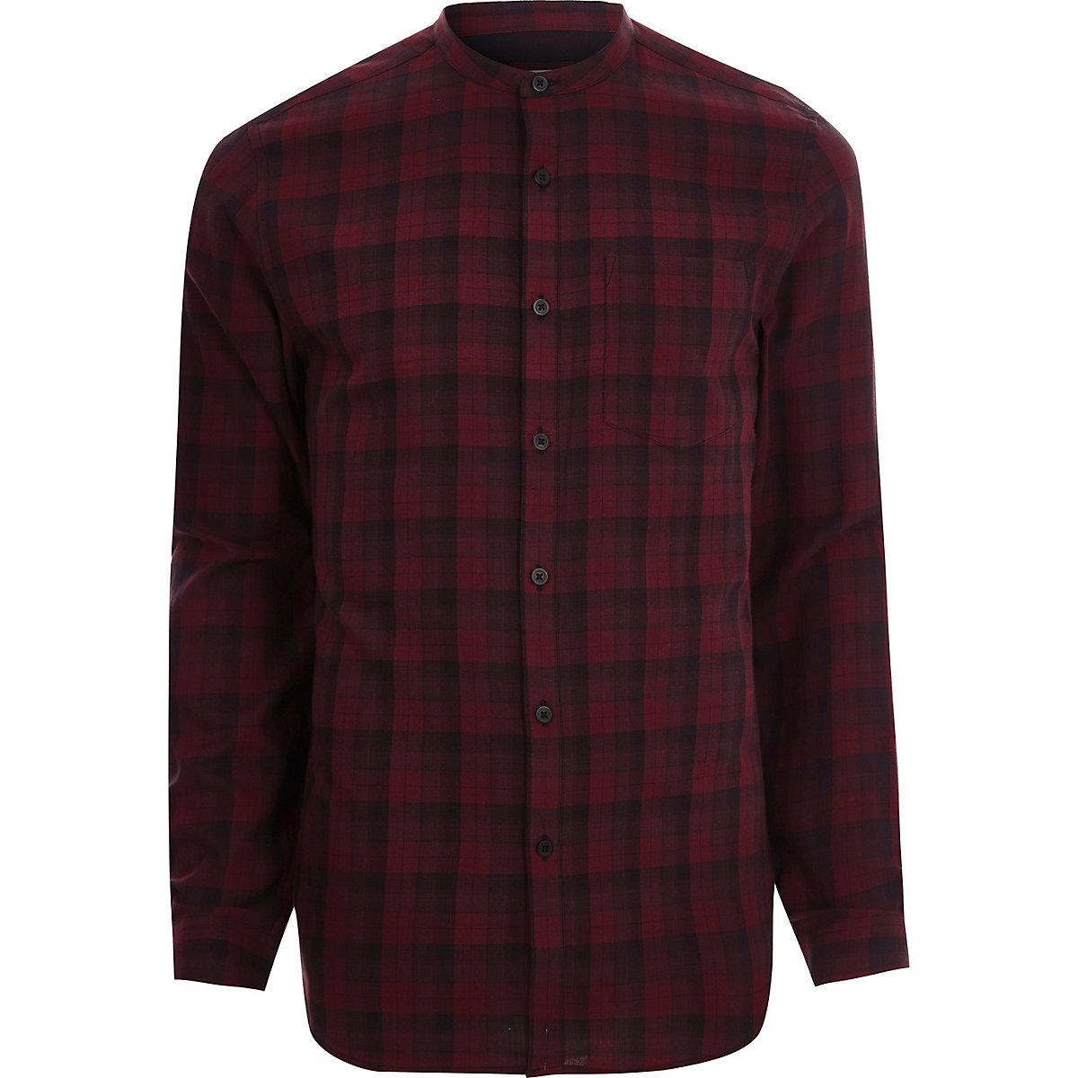 Red check slim fit grandad shirt