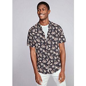 Zwart slim-fit overhemd met korte mouwen en bladprint
