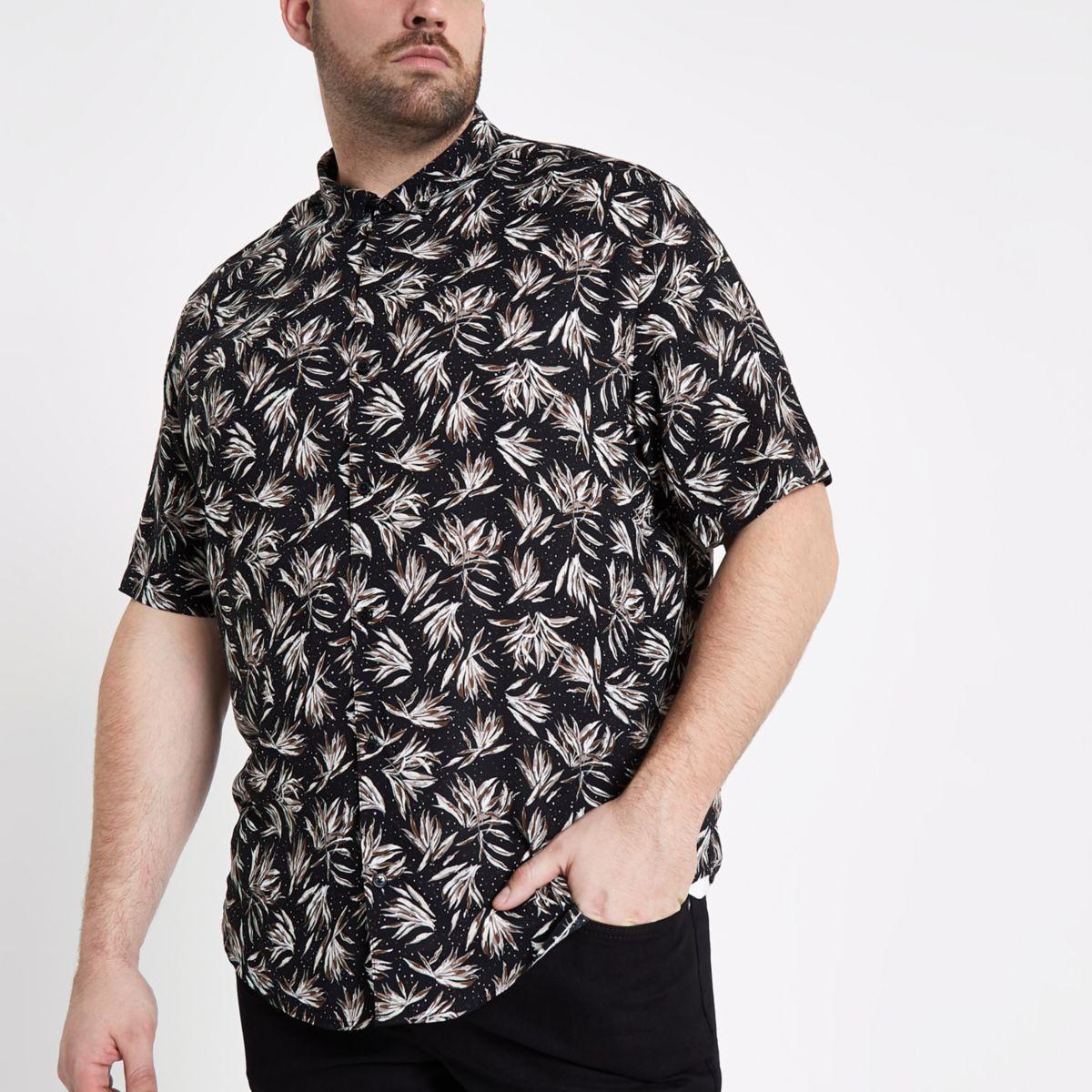 Big & Tall - Zwart overhemd met korte mouwen en bladmotief