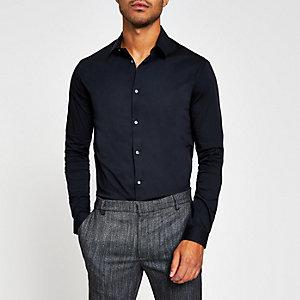 Chemise ajustée noire à manches longues