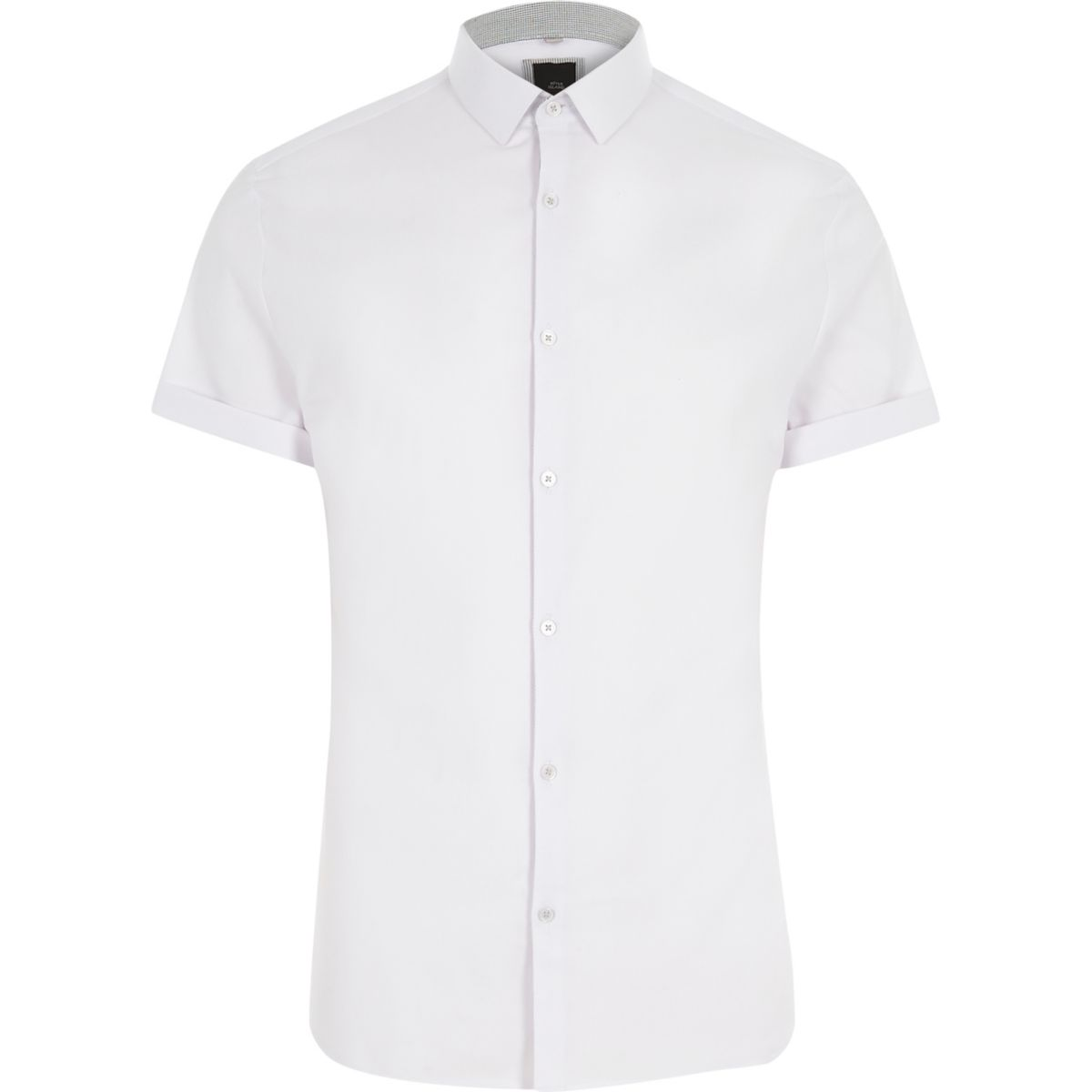 White smart muscle fit short sleeve shirt