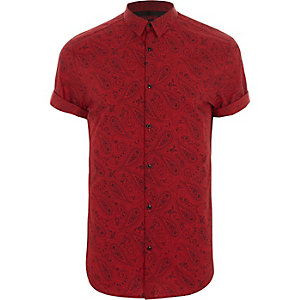 Red paisley print slim fit short sleeve shirt
