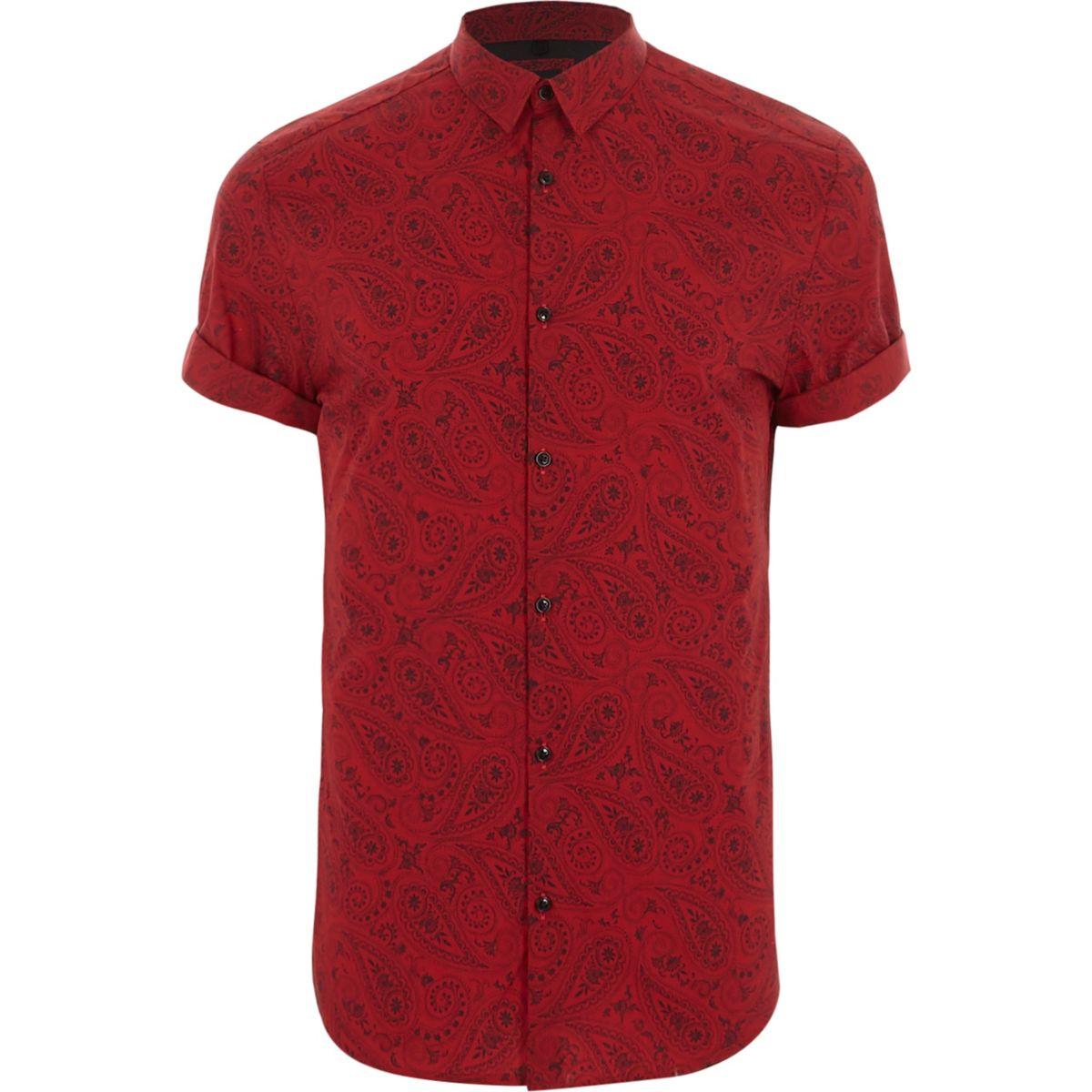Red paisley print slim fit short sleeve shirt
