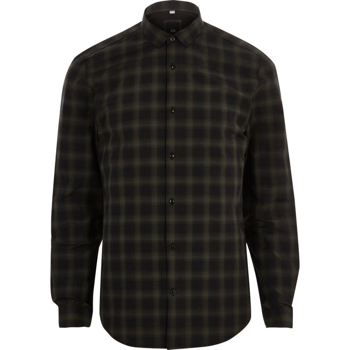 Donkergroen slim-fit overhemd met lange mouwen