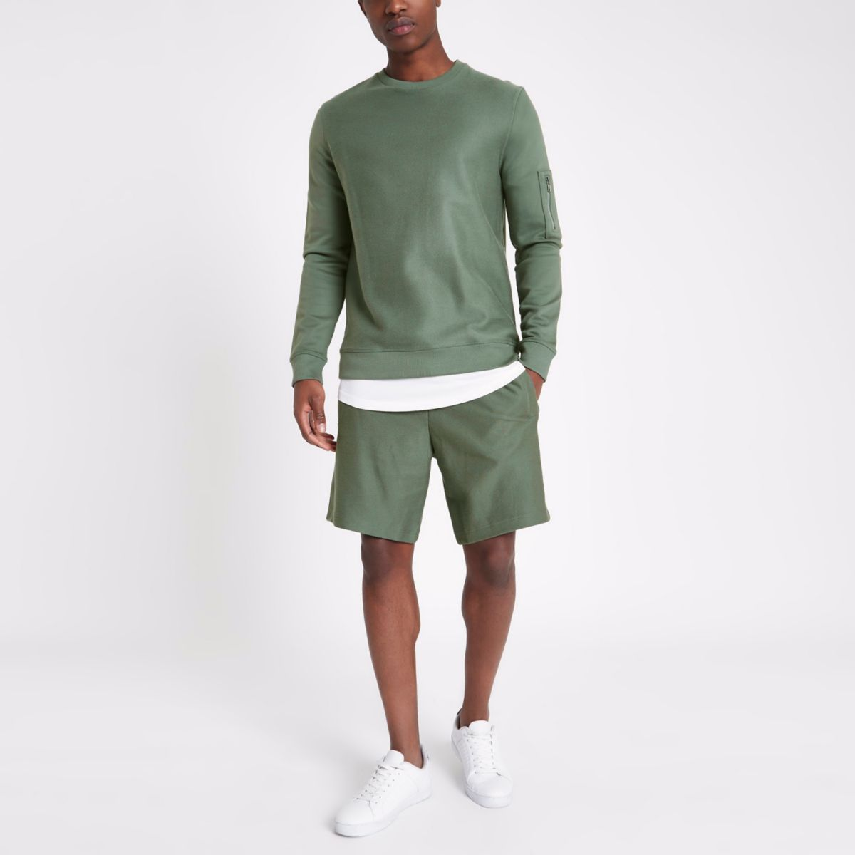 Khaki green twill shorts