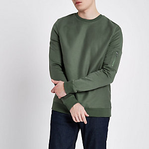 Dark green zip pocket sleeve sweatshirt
