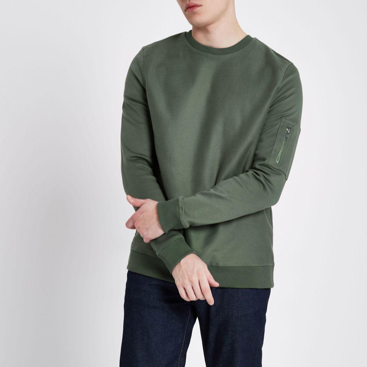 Dark green zip pocket sleeve sweatshirt