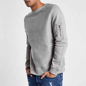 Light grey zip pocket sleeve sweatshirt