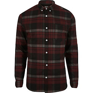 Dark red check muscle fit shirt
