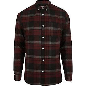 Chemise ajustée à carreaux rouge foncé