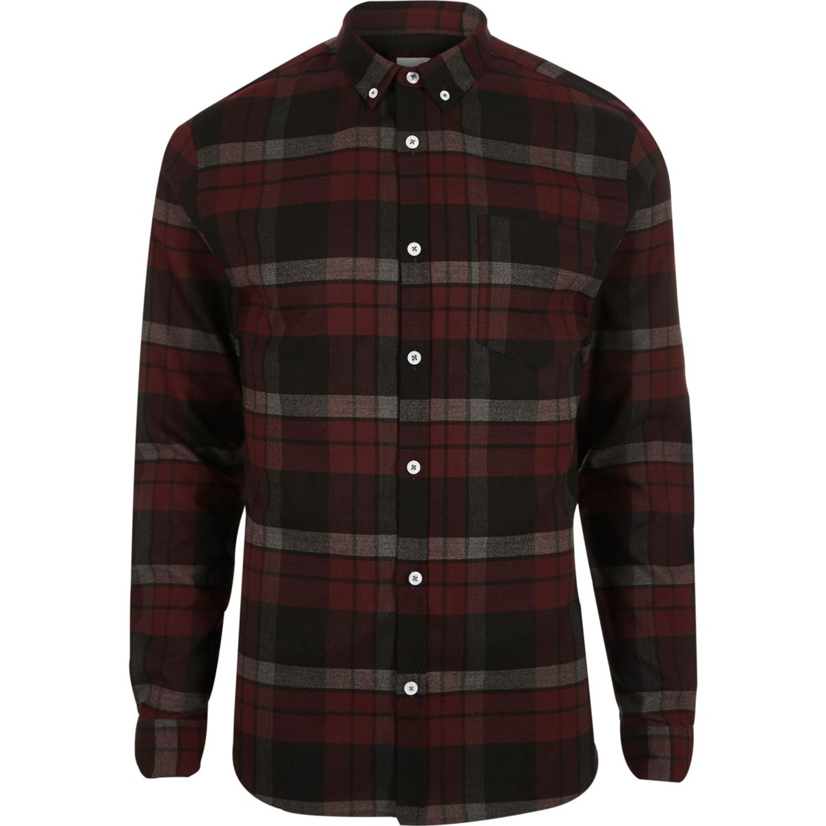 Dark red check muscle fit shirt - Shirts - Sale - men