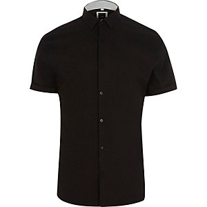Zwart net aansluitend overhemd met korte mouwen