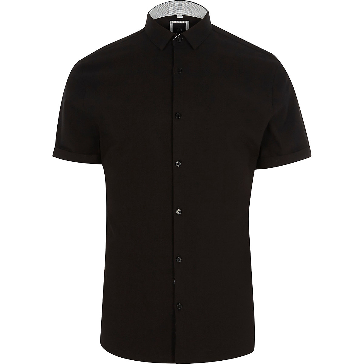 Black smart muscle fit short sleeve shirt
