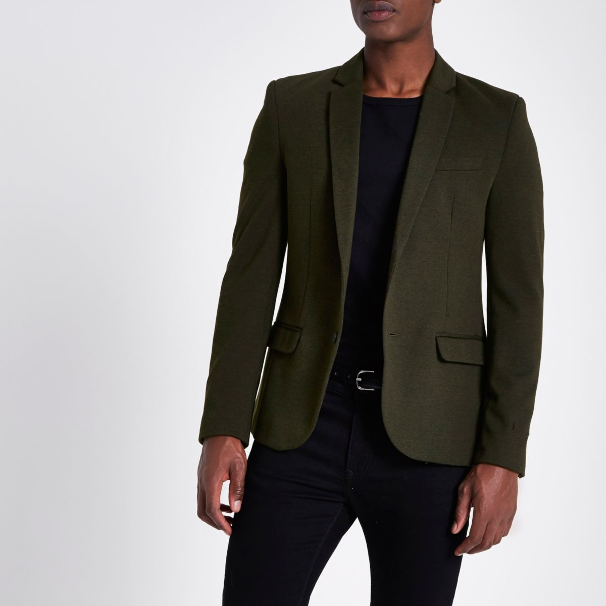 Dark green stretch muscle fit blazer