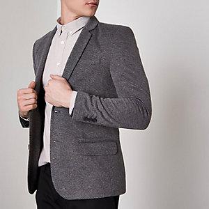 Grijze aansluitende blazer met stretch