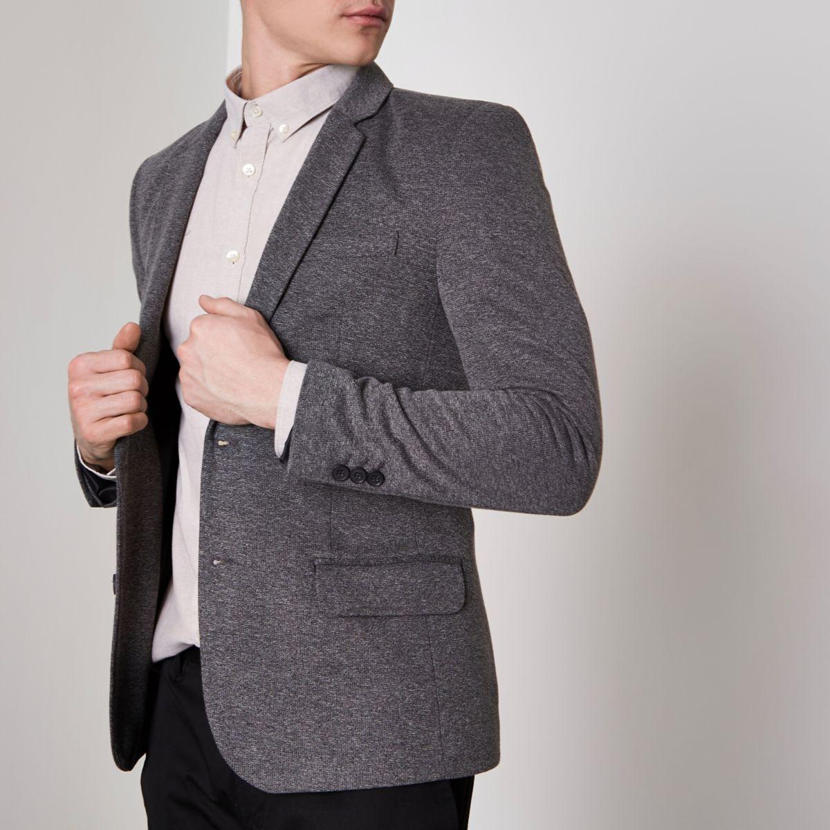 Grey stretch muscle fit blazer