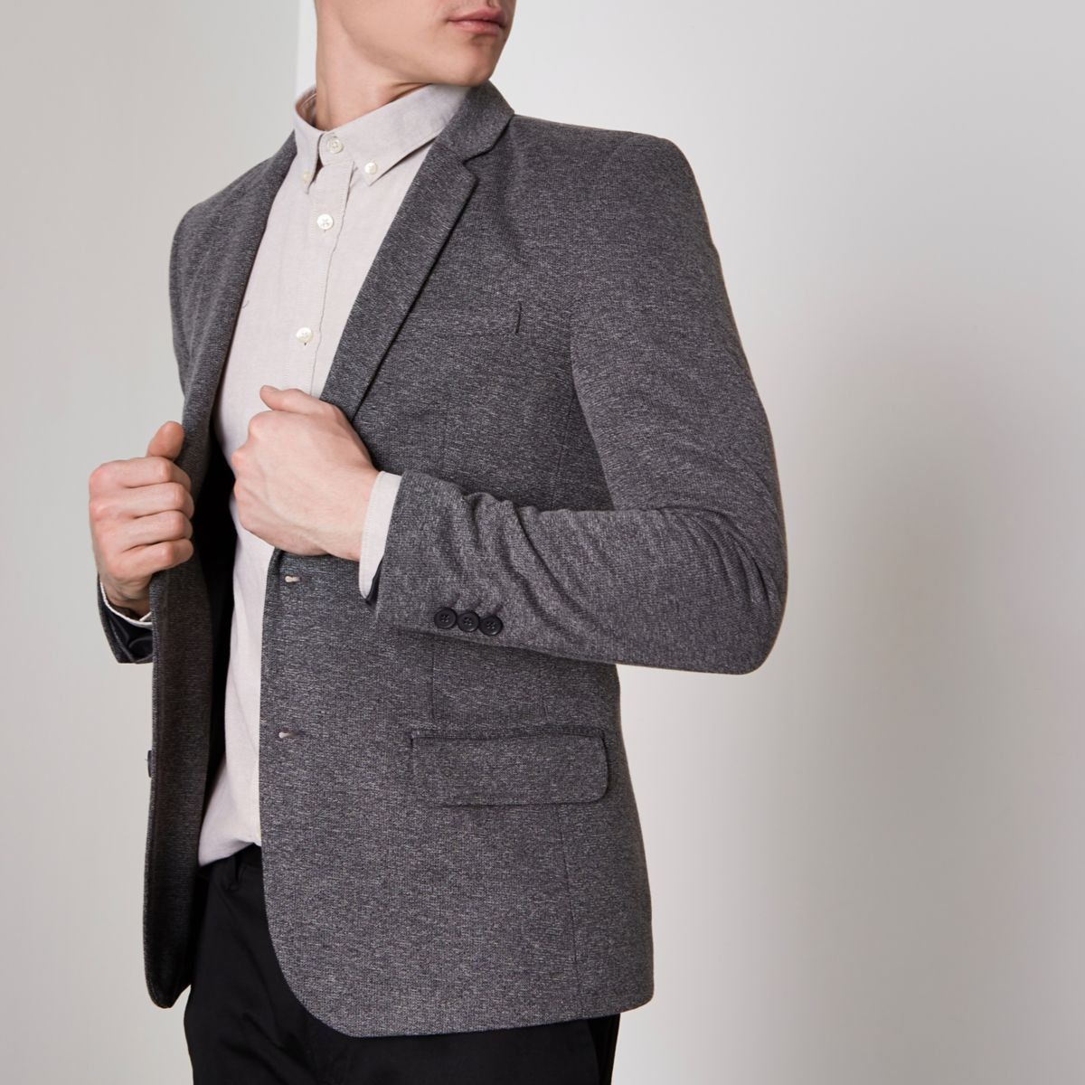 Grey Stretch Muscle Fit Blazer by River Island