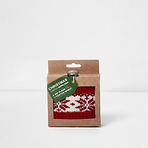 Red Christmas jumper festive hip flask