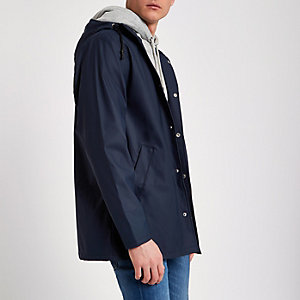Navy water resistant hooded jacket