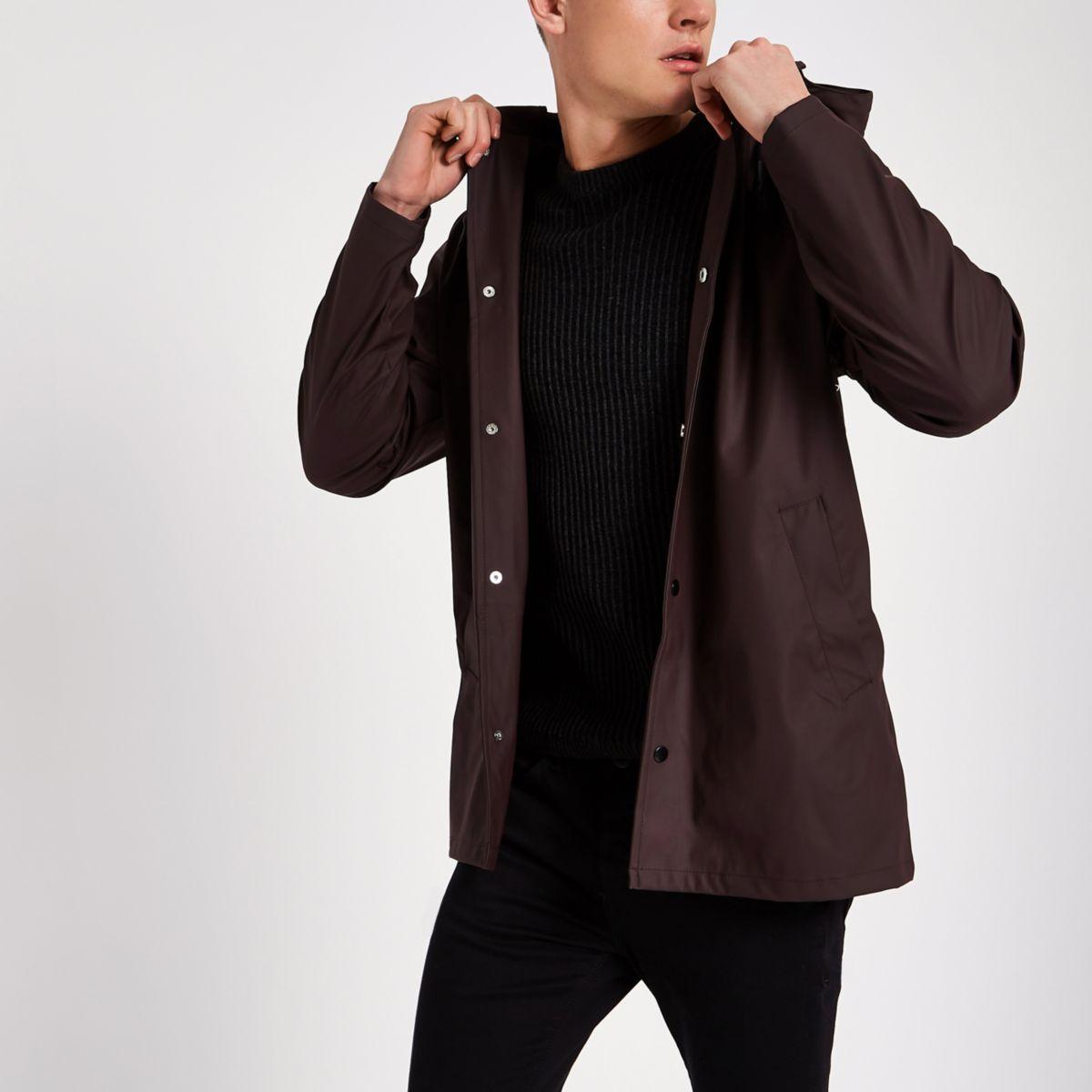 Burgundy water resistant hooded jacket