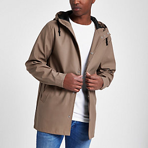 Tan water resistant hooded jacket