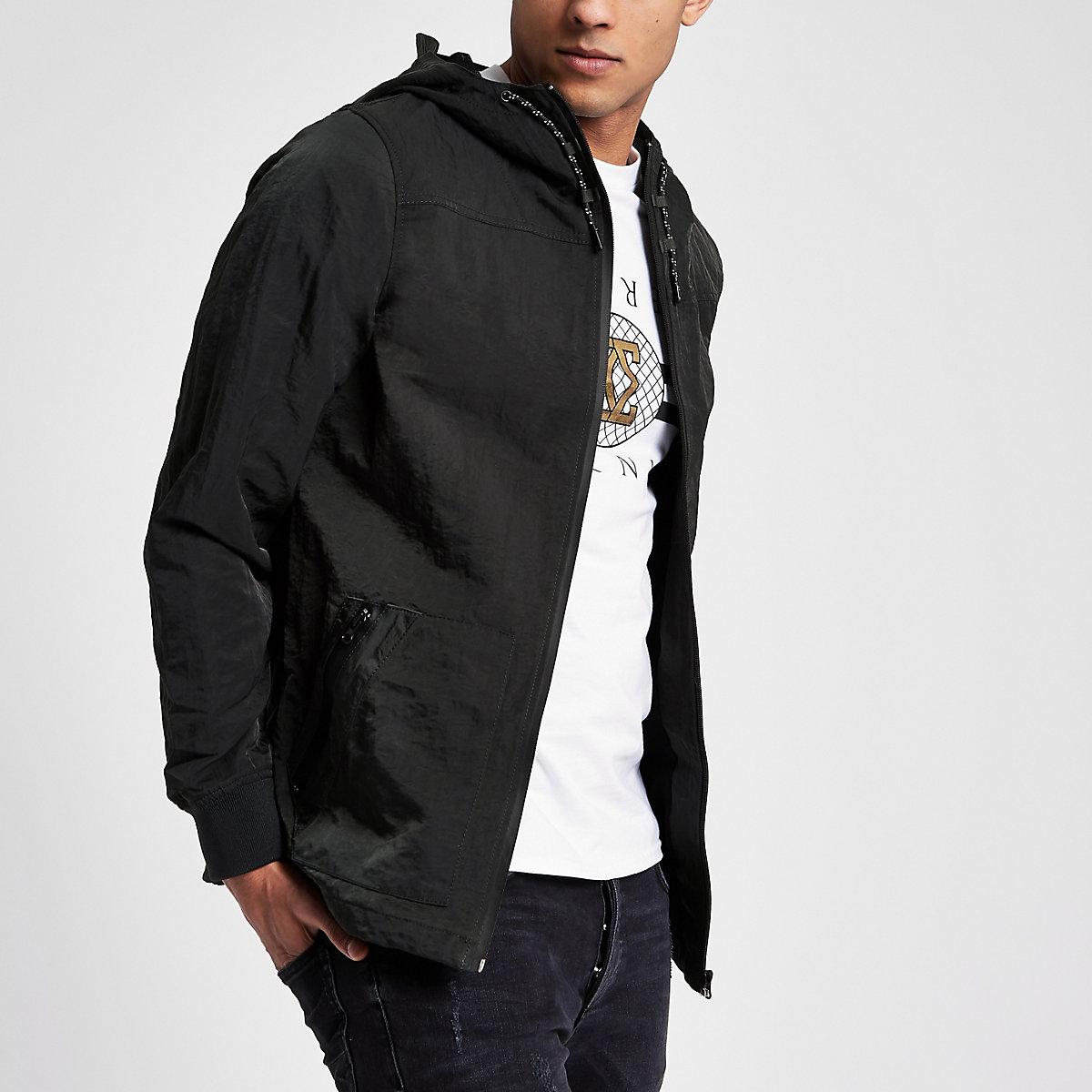 Green nylon hooded jacket