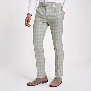 Light grey check slim fit suit pants