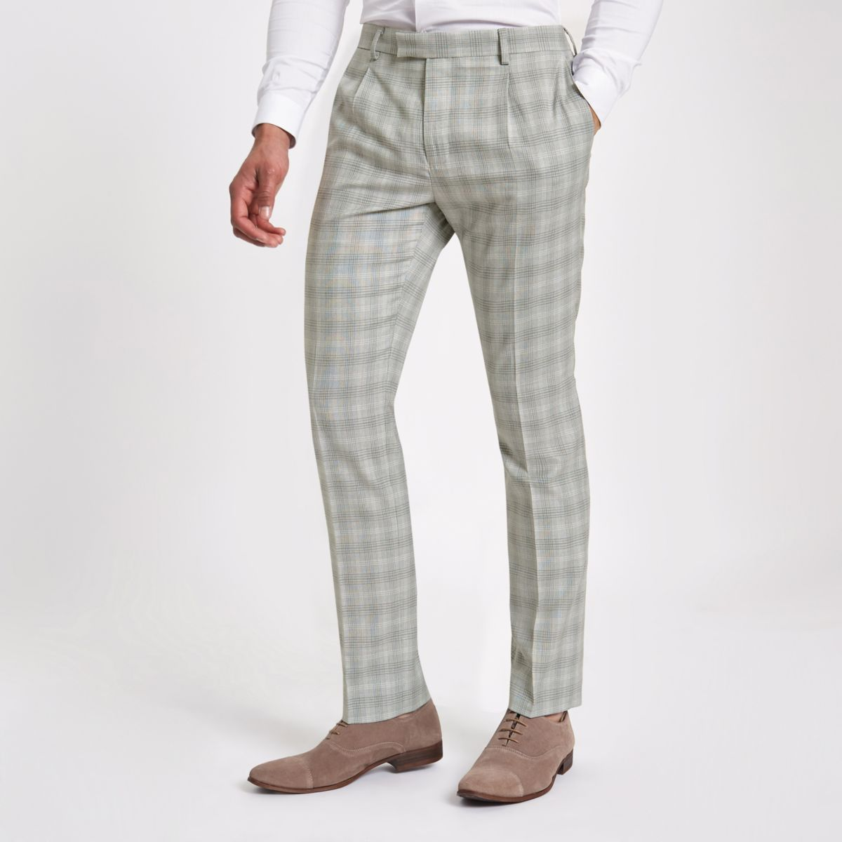 Pantalon de costume slim à carreaux gris clair