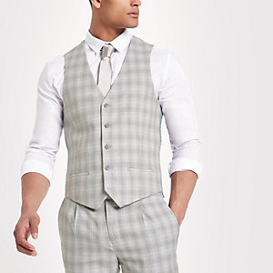 Light grey check suit vest
