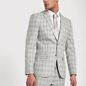 Veste de costume slim à carreaux gris clair
