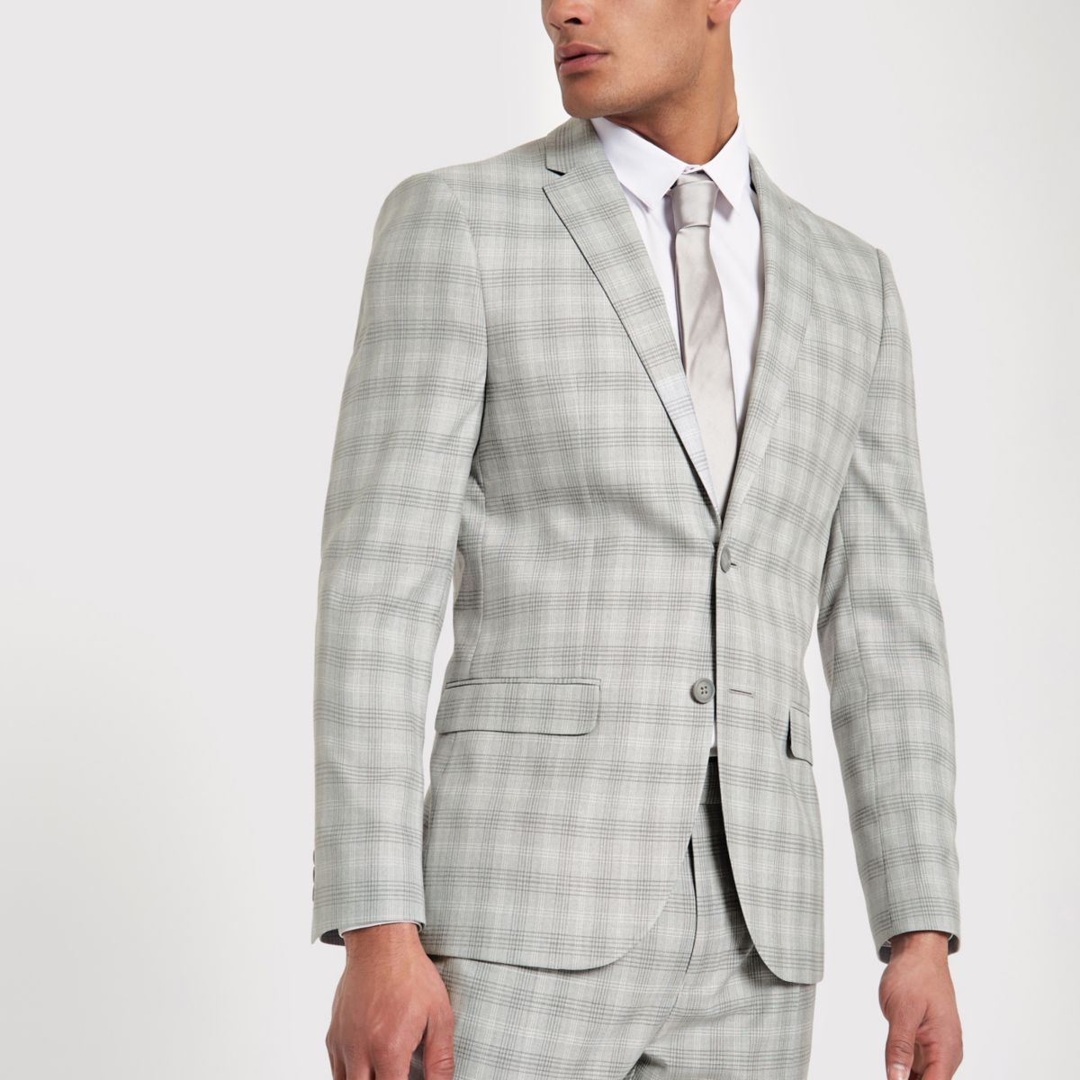 Veste de costume slim à carreaux gris clair