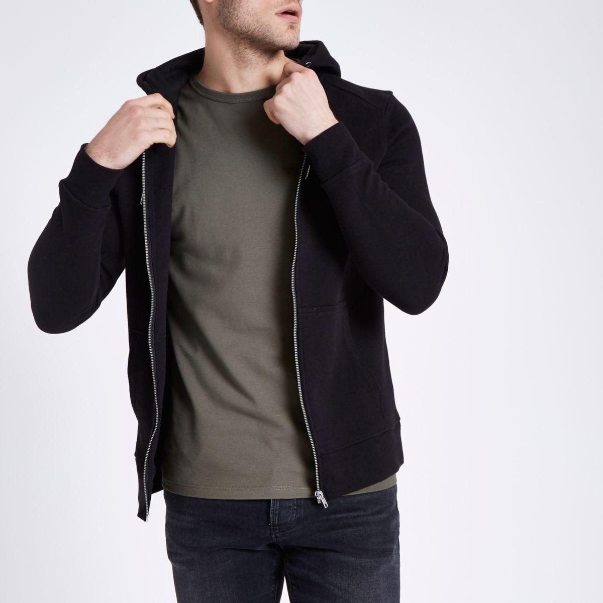 Black pique muscle fit zip up hoodie