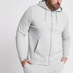 Big & Tall grey - Grijs gemêleerde piqué hoodie met rits