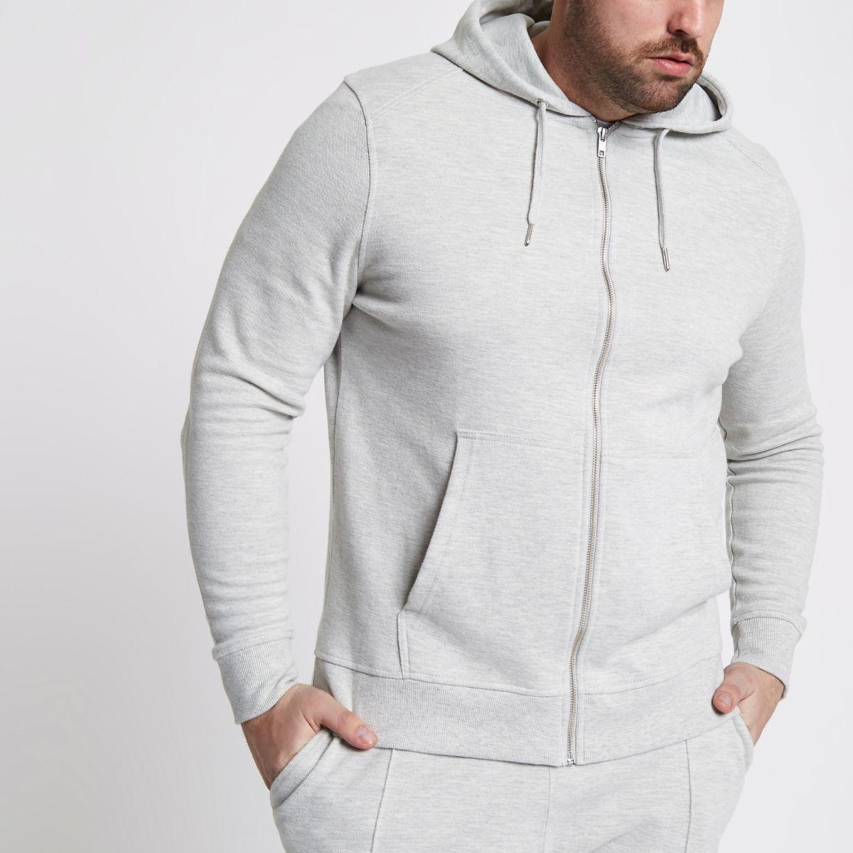 Big & Tall – Sweat à capuche en piqué gris chiné zippé
