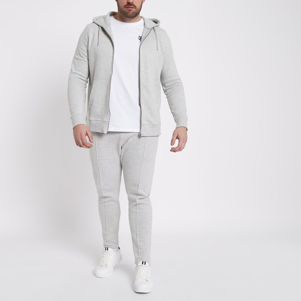 Big and Tall grey pique joggers